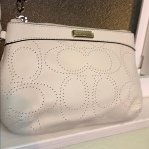 """NWT Coach Wristlet, White Perforated """"C"""" Leather"""